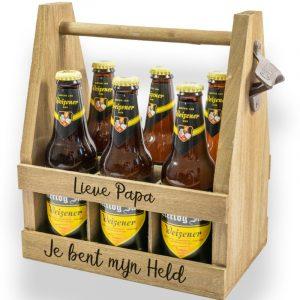 Bijzondere biertray met persoonlijke teksten (incl 6 flesjes Hertog Jan)!