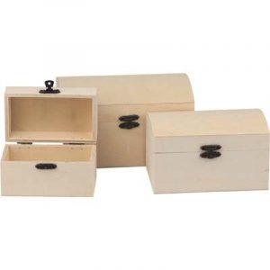 Mini houten schatkistjes, set van 3