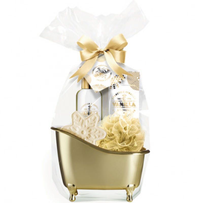 Gouden giftset in badkuip, 5- delig / vanille