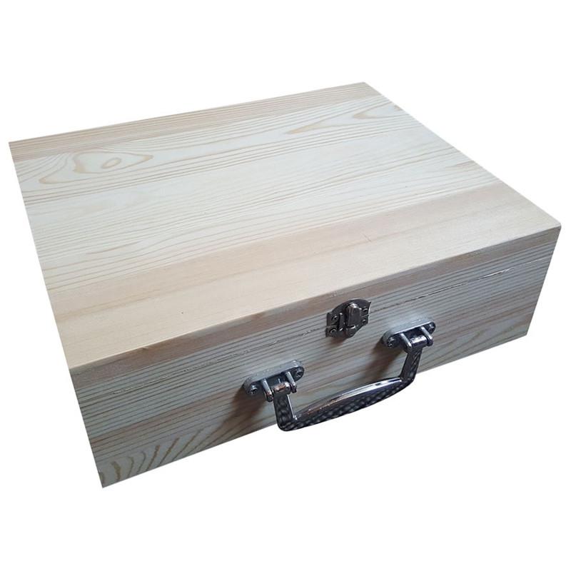 Kist / Koffer van grenen met metalen handvat