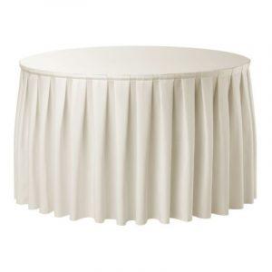 Tafel, rond 180 Ø met een crème rok