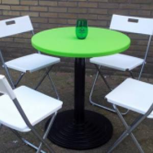 Ronde tafel & 4 klapstoelen diverse kleuren